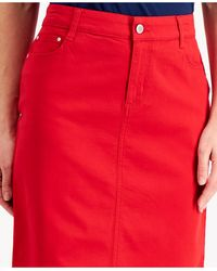 Charter Club Denim Tummy-control Skirt, Created For Macy's - Red