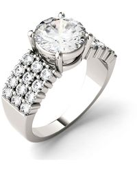Charles & Colvard Moissanite Three Row Engagement Ring 2-9/10 Ct. T.w. Diamond Equivalent In 14k White Gold - Metallic