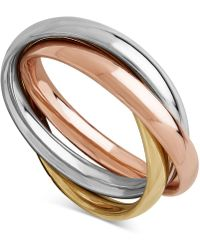 Macy's - Tri-gold Multi-band Ring In 14k Gold, White Gold & Rose Gold - Lyst