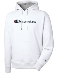 Champion Script Logo Reverse Weave Fleece Lined Hoodie - White
