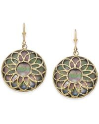 Macy's - Black Mother-of-pearl Floral Filigree Medallion Drop Earrings In 14k Gold - Lyst