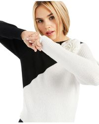 INC International Concepts Inc Colorblocked Appliqué Sweater, Created For Macy's - Black
