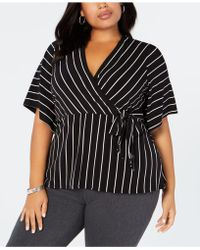 Alfani - Plus Size Striped Tie Top, Created For Macy's - Lyst