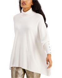 Alfani Petite Turtleneck Poncho Sweater, Created For Macy's - White