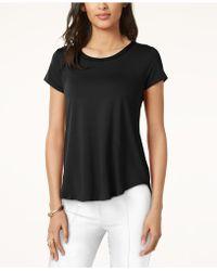Alfani Top, Short-sleeve High-low Tee - Black