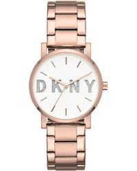 DKNY - Soho Rose Gold-tone Stainless Steel Bracelet Watch 34mm, Created For Macy's - Lyst