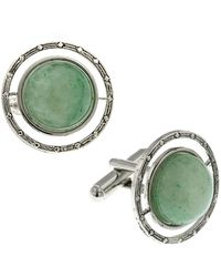 1928 Jewelry Silver-tone Semi-precious Jade Round Cufflinks - Green
