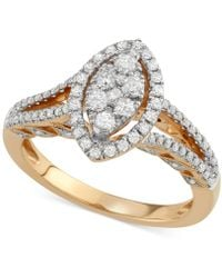 Macy's - Diamond Marquise-cluster Ring (3/4 Ct. T.w.) In 14k Gold - Lyst