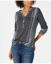Style & Co. - Printed Roll-tab Sleeve Top, Created For Macy's - Lyst