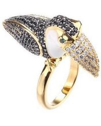Noir Jewelry - Tucan Ring With Cubic Zirconia Stones - Lyst