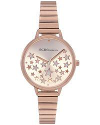 BCBGeneration Ladies 3 Hands Slim Rose Gold-tone Stainless Steel Bracelet Watch, 34 Mm Case - Pink