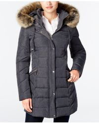 Laundry by Shelli Segal - Faux Sherpa Hooded Cinched Waist Puffer Coat - Lyst