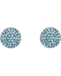 Nina Swarovski Pave Button Small Earring - Blue