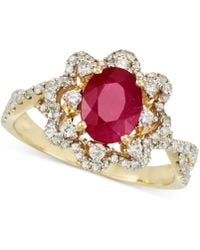 Rare Featuring Gemfields - Certified Ruby (1 Ct. T.w.) And Diamond (1/2 Ct. T.w.) Ring In 14k Gold - Lyst