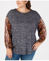 Style & Co. - Plus Size Colorblocked Bubble-sleeve Top, Created For Macy's - Lyst