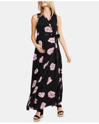 77cc0e74136 Jessica Simpson Maternity Illusion High-low Maxi Dress in Black - Lyst