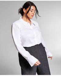 INC International Concepts Jeannie Mai X Inc Plus Size Shoulder-pad Poplin Bodysuit, Created For Macy's - White