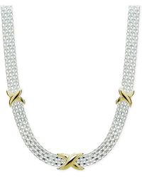 Giani Bernini - Two-tone Decorated Bismark Link Necklace In Sterling Silver & Gold-plate - Lyst