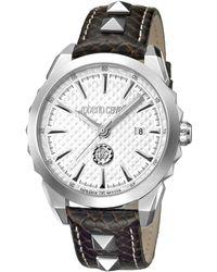 Roberto Cavalli - Swiss Quartz Brown Calfskin Leather Strap Watch, 42mm - Lyst