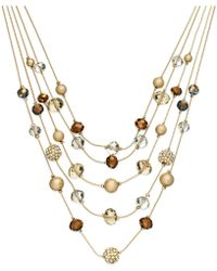 INC International Concepts - Gold-tone Bronze Bead Illusion Necklace - Lyst