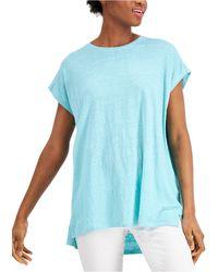 Eileen Fisher High-low Linen Tunic - Blue