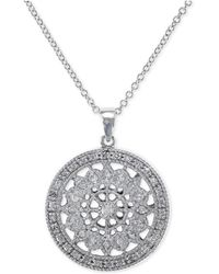 Effy Collection - Diamond Disc Pendant Necklace (1/4 Ct. T.w.) In 14k White Gold - Lyst