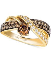 Le Vian - Chocolate And White Diamond Crossover Ring In 14k Gold (1-1/4 Ct. T.w.) - Lyst