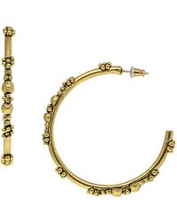 1928 T.r.u. By Matte 14 K Gold Dipped Floral Hoop Earring - Metallic