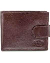 Mancini Equestrian2 Collection Rfid Secure Wallet With Coin Pocket And Card Sleeves - Brown