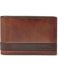Fossil Men's Leather Quinn Money Clip Bifold Wallet - Brown