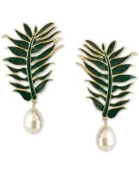Bar Iii Zerina Akers Gold-tone Imitation Pearl Green Leaf Drop Earrings, Created For Macy's