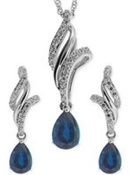 No Vendor - Sapphire ( 1-1/10 Ct. T.w.) And White Topaz (3/8 Ct. T.w.) Jewelry Set In Sterling Silver - Lyst