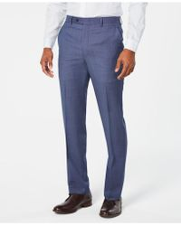 Michael Kors - Classic-fit Airsoft Stretch Light Blue/navy Birdseye Suit Trousers - Lyst