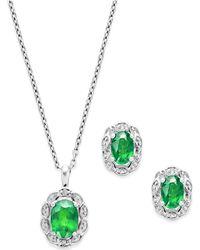 Macy's - Sapphire (2 Ct. T.w.) And Diamond Accent Jewelry Set In Sterling Silver - Lyst