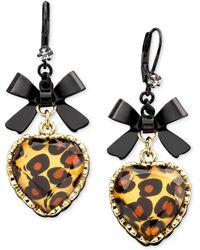 Betsey Johnson - Leopard Heart Bow Drop Earrings - Lyst