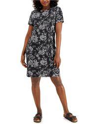 Karen Scott Tiole Floral Dress, Created For Macy's - Black