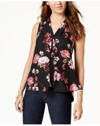 Vince Camuto - Printed Pleat-detail Top - Lyst