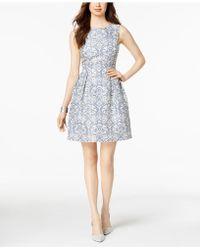 Donna Ricco - Damask Jacquard Fit & Flare Dress - Lyst