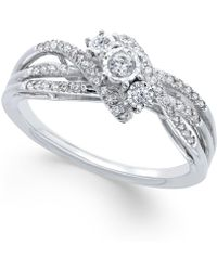 Macy's | Diamond Bypass Ring (1/4 Ct. T.w.) In Sterling Silver | Lyst