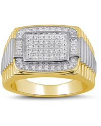 Macy's Diamond Two-tone Cluster Ring (1/2 Ct. T.w.) In Sterling Silver Or 18k Gold Over Silver - Metallic