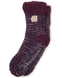 Dearfoams Space-dye Textured Knit Flurry Slipper Sock, Online Only - Purple