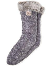 Dearfoams Chenille Knit Blizzard Slipper Sock, Online Only - Grey
