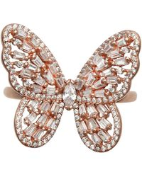 Macy's - Cubic Zirconia Baguette Butterfly Ring (1-1/2 Ct. T.w.) In Sterling Silver Or 18k Rose Gold Over Sterling Silver - Lyst