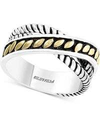 Effy Collection Effy® Two-tone Crisscross Statement Ring In Sterling Silver & 18k Gold-plated Sterling Silver - Metallic