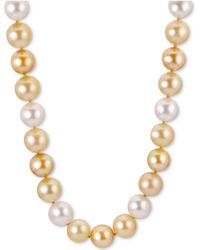 "Macy's - Multicolor Golden South Sea Pearl (11mm) 18"" Collar Necklace In 18k Gold - Lyst"