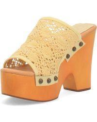 Dingo Crafty Leather Platform Sandal - Yellow
