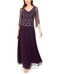 J Kara Cowlneck Beaded Gown - Purple