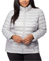 32 Degrees Plus Size Down Packable Puffer Coat - Metallic