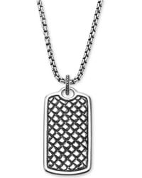 Scott Kay - Men's Textured Dog Tag Pendant Necklace In Sterling Silver - Lyst