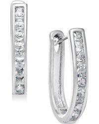 No Vendor | Cubic Zirconia U-shaped Hoop Earrings In Sterling Silver | Lyst
